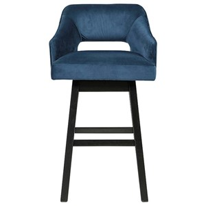 Contemporary Tall Upholstered Swivel Bar Stool