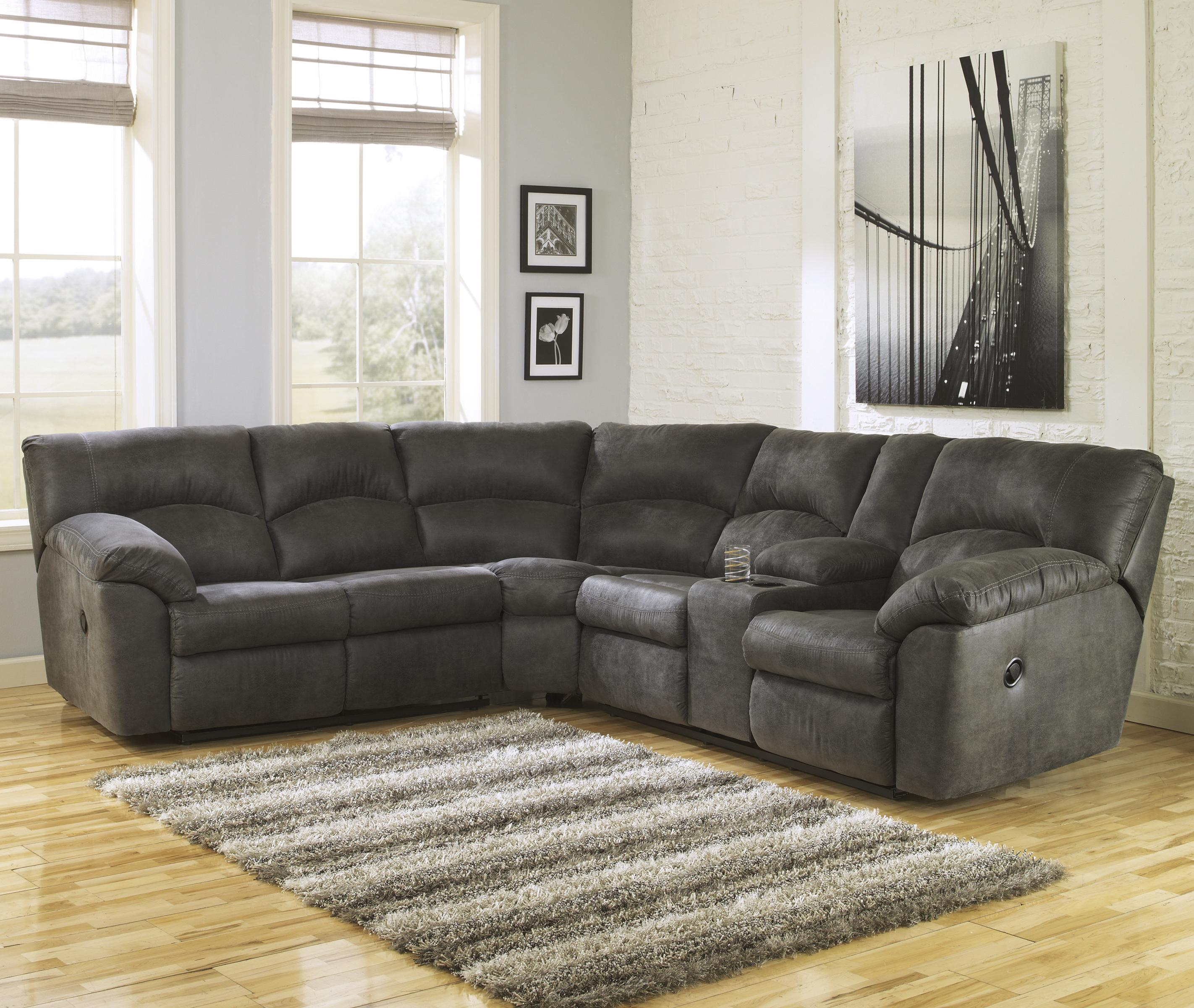 Tambo - Pewter 2-Piece Reclining Corner Sectional by Signature Design by Ashley at Gill Brothers Furniture