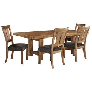 Signature Design by Ashley Tamilo 5 Piece Table & Chair Set with Leaf