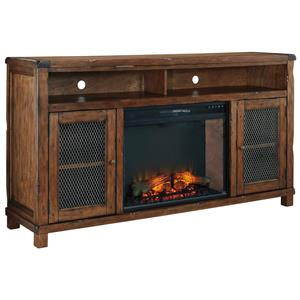 Rustic Mango Veneer XL TV Stand with Electric Fireplace Insert & Wire Mesh Doors