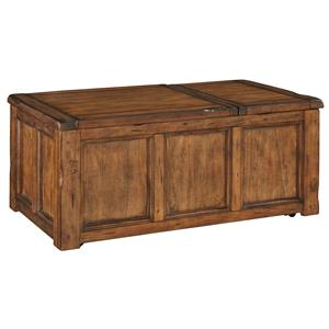 Rustic Trunk Style Rectangular Lift Top Cocktail Table with Storage and Casters