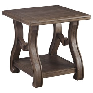 Square End Table with Cottage Style Base & Shelf