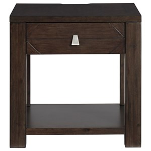 Contemporary Square End Table with Outlet and USB Ports