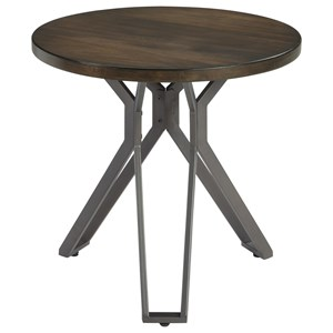 Round End Table with Metal Pedestal Base