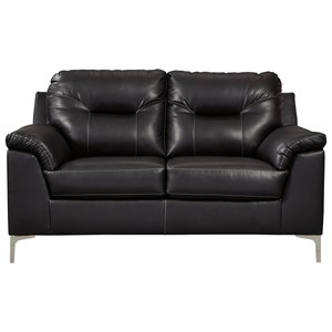 Contemporary Loveseat with Pillow Arms