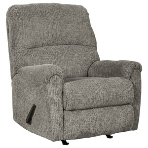 Casual Rocker Recliner in Gray Fabric