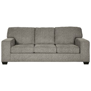 Contemporary Queen Sofa Sleeper with Track Arms & Memory Foam Mattress