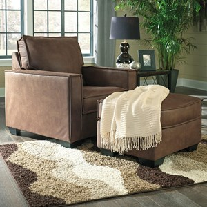 Faux Leather Chair & Ottoman with Piecrust Welt Trim