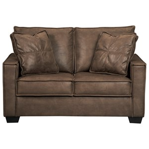 Faux Leather Loveseat with Piecrust Welt Trim