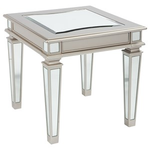 Silver Finish Rectangular End Table with Mirror Panels