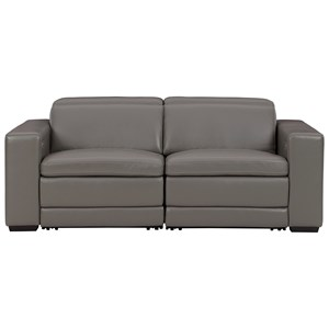 Contemporary Leather Match Power Reclining Loveseat
