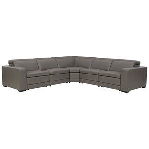 Contemporary Leather Match Power Reclining Sectional