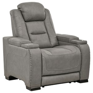 Contemporary Power Recliner with Adjustable Headrest and Lumbar Support