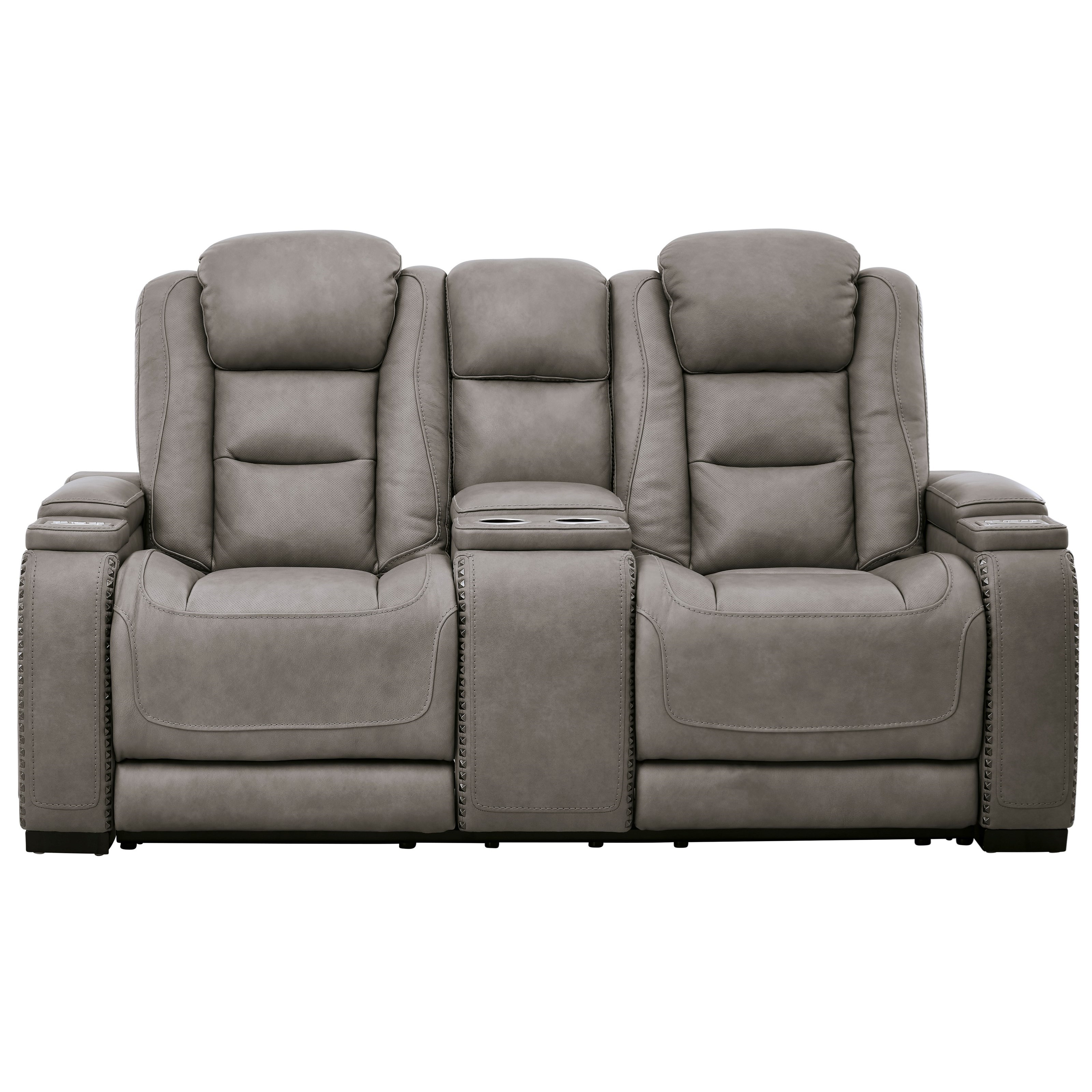 The Man-Den Power Reclining Loveseat with Console by Ashley (Signature Design) at Johnny Janosik