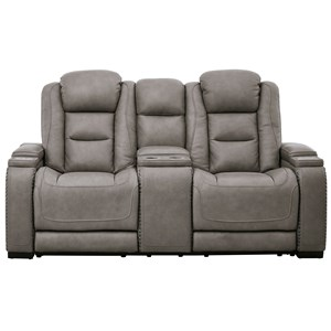 Contemporary Power Reclining Loveseat with Adjustable Headrests and Lumbar Support