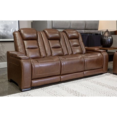 The Man-Den Power Reclining Sofa with Adj Headrests by Ashley Signature Design at Rooms and Rest