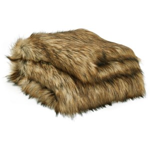 Milton Brown/Black Faux Fur Throw