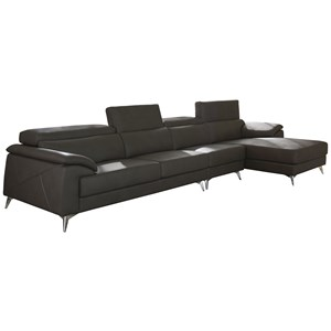 Contemporary 3 Piece Sectional with Adjustable Headrest
