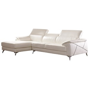 Contemporary 2 Piece Sectional with Adjustable Headrest