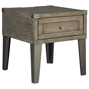 Rectangular End Table with Outlet & USB Chargers