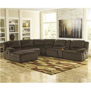 Signature Design by Ashley Toletta - Chocolate Reclining Sectional w/ Console & Chaise