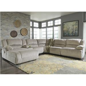 Signature Design by Ashley Toletta - Granite Reclining Sectional w/ Console & Chaise