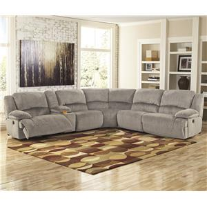 Signature Design by Ashley Toletta - Granite Reclining Sectional with Console