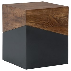 Contemporary Two-Tone Wood/Painted Finish Square Accent Table