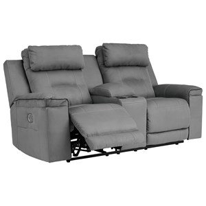 Contemporary Power Reclining Loveseat with Console and Power Headrests