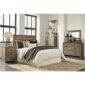 Full Panel Bed Headboard, Dresser, Mirror and Nightstand Package