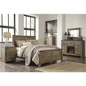 Queen Panel Bed, Dresser with Electric Fireplace, Mirror, 2 Nightstands and Chest Package