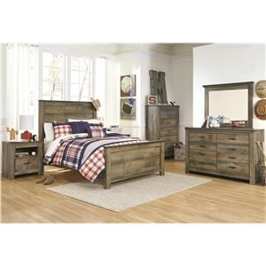 Full Panel Bed Headboard, Dresser, Mirror, Nightstand and Chest Package