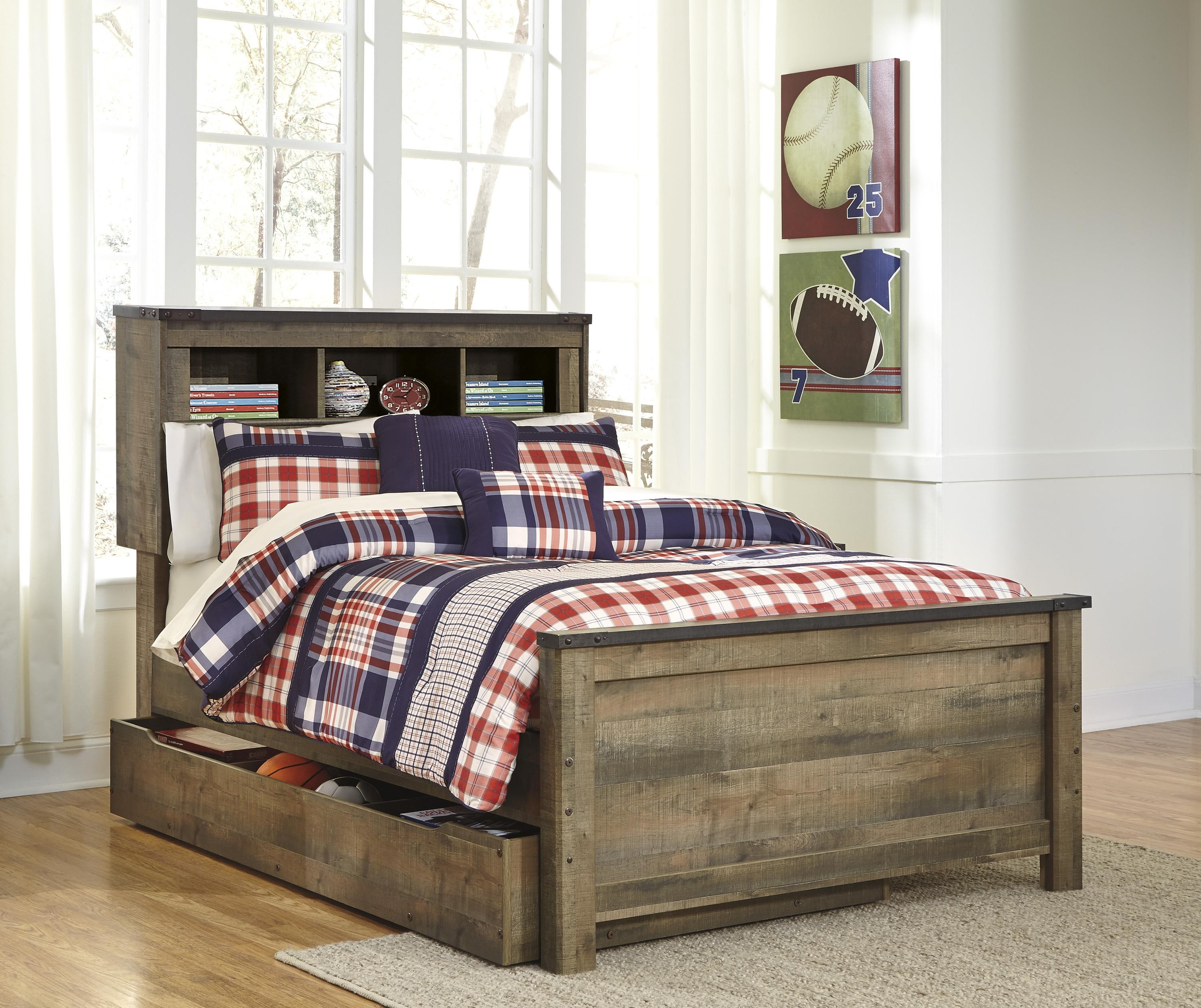 Trinell Twin Bookcase Bed with Under Bed Storage Pac by Signature Design by Ashley at Sam Levitz Furniture