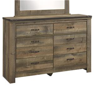 Rustic Look Youth Dresser with Top Metal Banding