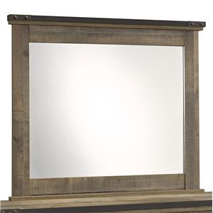 Rustic Bedroom Mirror with Top Metal Banding