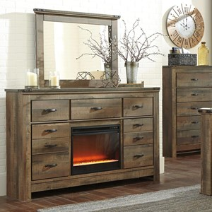 Rustic Dresser with Fireplace Insert & Mirror