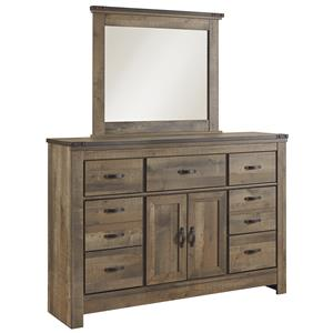 Rustic Dresser with Doors & Mirror