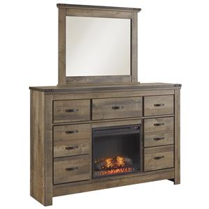 Rustic Dresser with Fireplace Insert and Top Metal Banding & Mirror