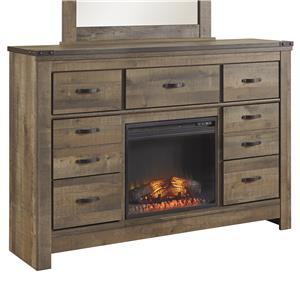 Rustic Look Dresser with Fireplace Insert & Top Metal Banding