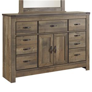 Rustic Dresser with Doors & Top Metal Banding