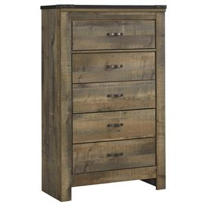 Rustic 5-Drawer Chest with Top Metal Banding
