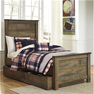 Rustic Look Twin Panel Bed with Under Bed Storage/Trundle