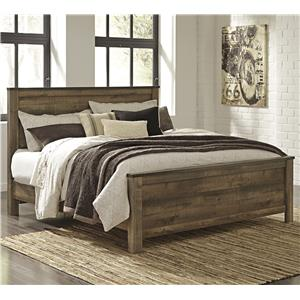 Rustic Look King Panel Bed