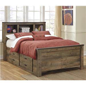 Rustic Look Full Bookcase Bed with Under Bed Storage