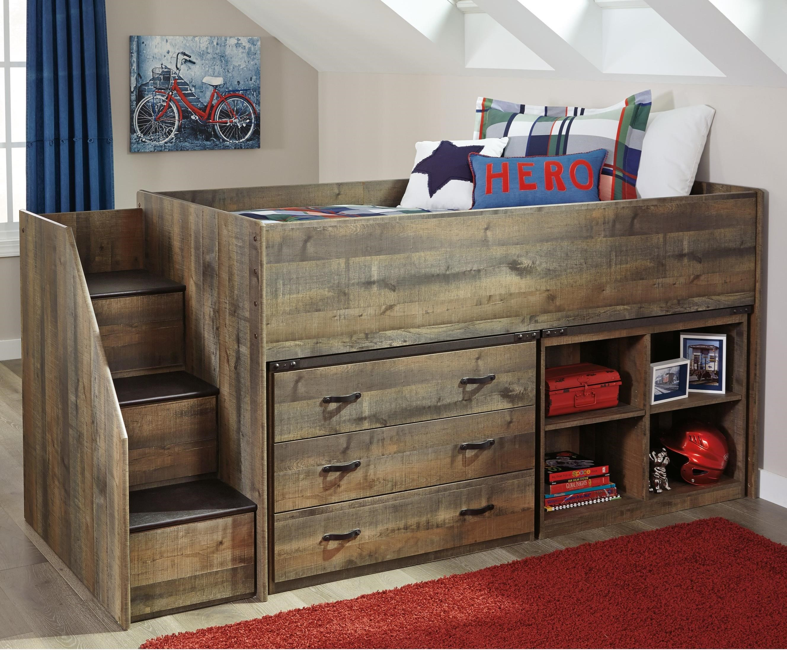 Trinell Loft Bed w/ Stairs, Bookcase, & Drawers by Signature Design by Ashley at Northeast Factory Direct