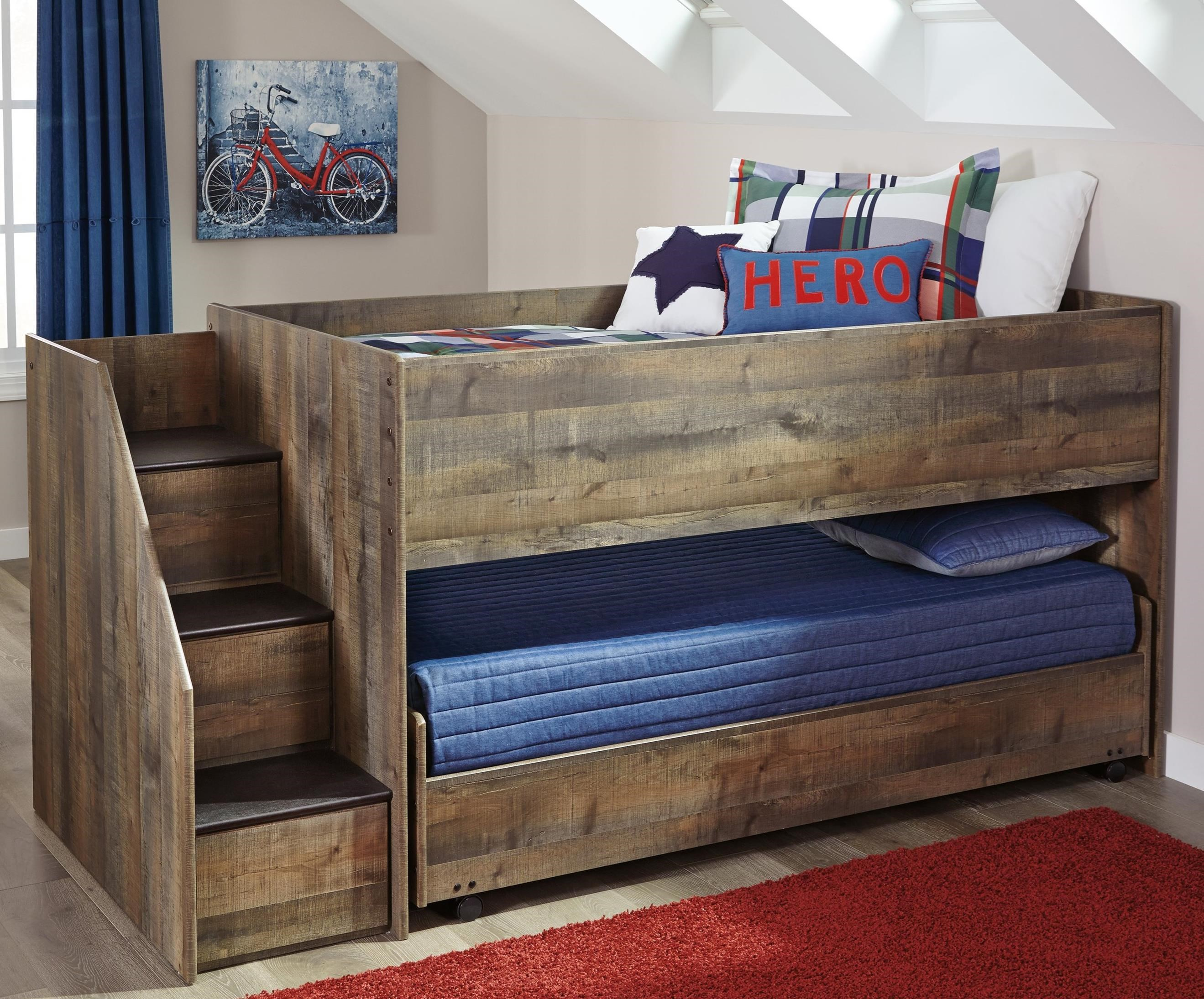 Trinell Loft Bed with Storage Stairs & Caster Bed by Signature Design by Ashley at Suburban Furniture