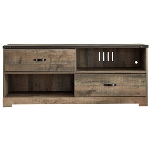 Rustic Large TV Stand with 2 Sliding Doors