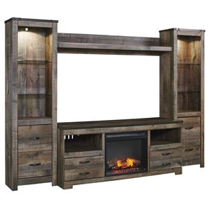 Signature Design by Ashley Trinell Large TV Stand w/ Fireplace, Piers, & Bridge