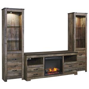 Rustic Large TV Stand w/ Fireplace Insert & 2 Tall Piers