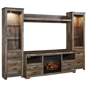 Large TV Stand w/ Fireplace, Piers, & Bridge